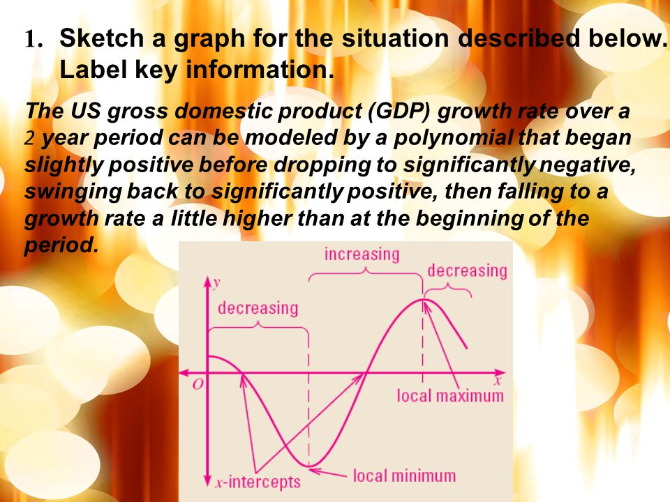 1. Sketch a graph for the situation described below. Label key information.