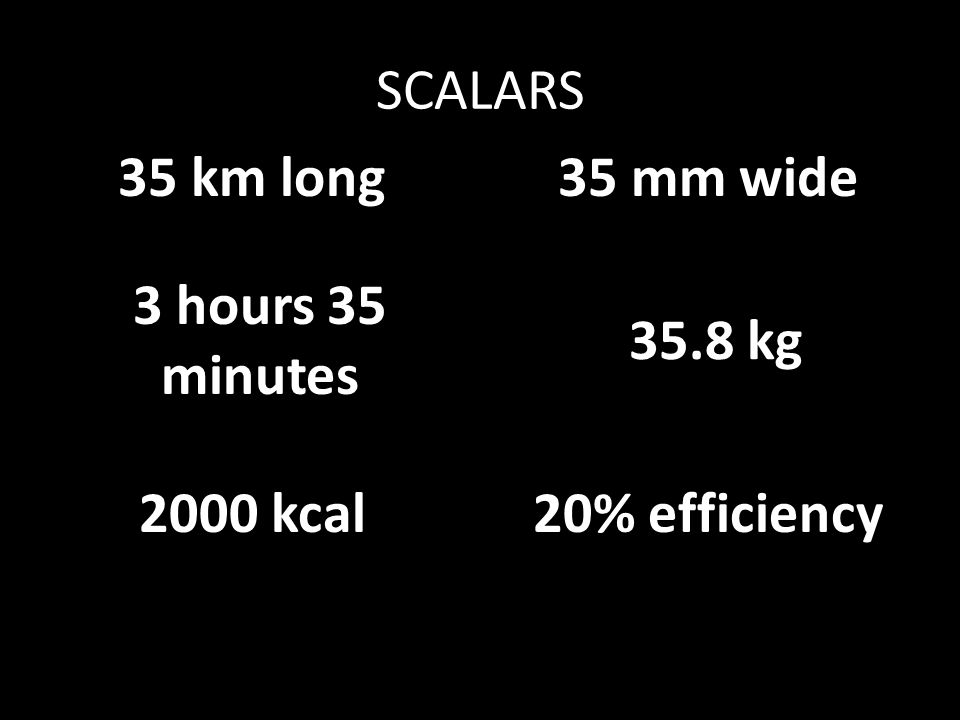 SCALARS 35 km long 35 mm wide 3 hours 35 minutes 35.8 kg 2000 kcal 20% efficiency
