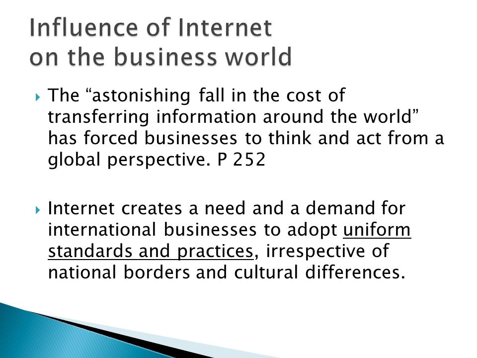 Influence of Internet on the business world