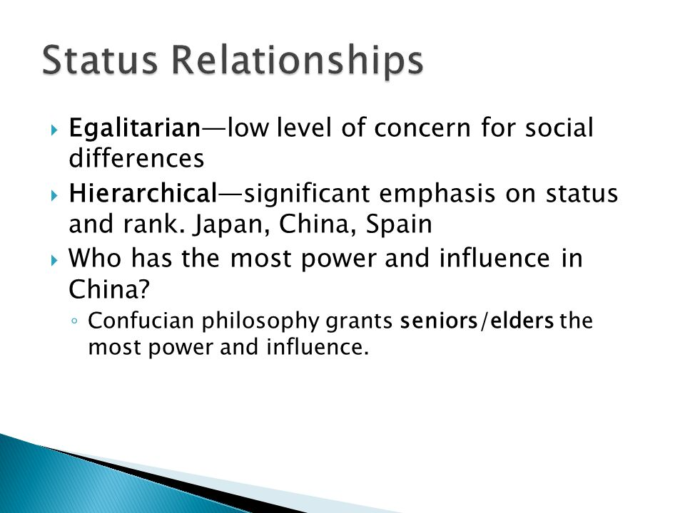 Status Relationships Egalitarian—low level of concern for social differences.