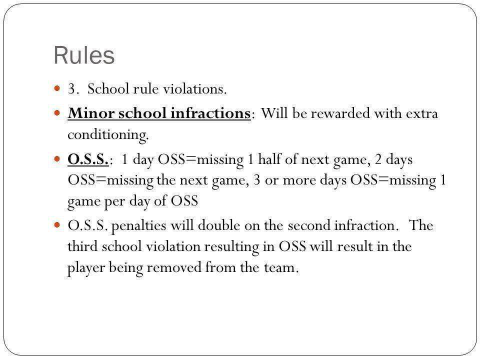 Rules 3. School rule violations.
