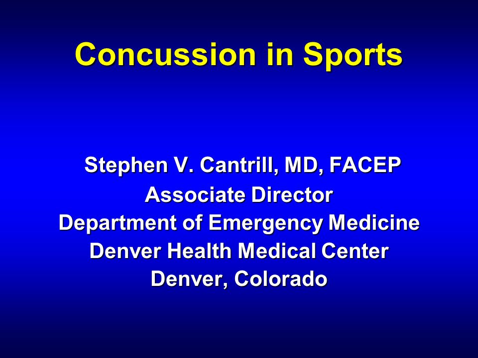 Concussion in Sports Stephen V