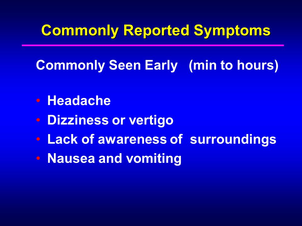 Commonly Reported Symptoms