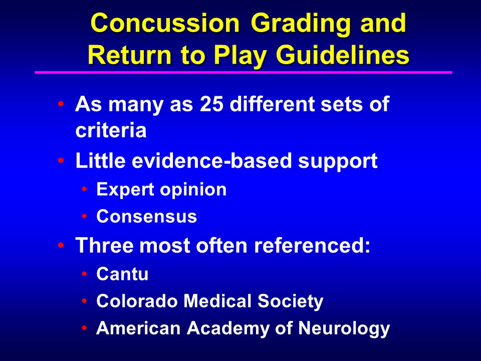 Concussion Grading and Return to Play Guidelines