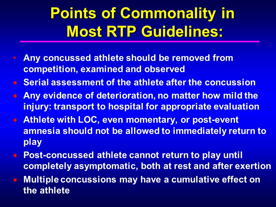 Points of Commonality in Most RTP Guidelines: