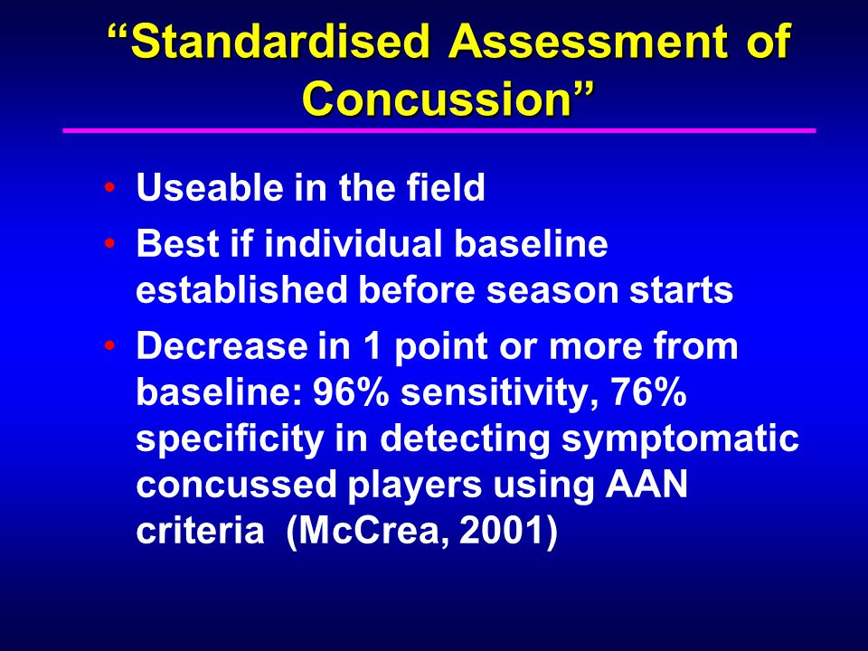 Standardised Assessment of Concussion