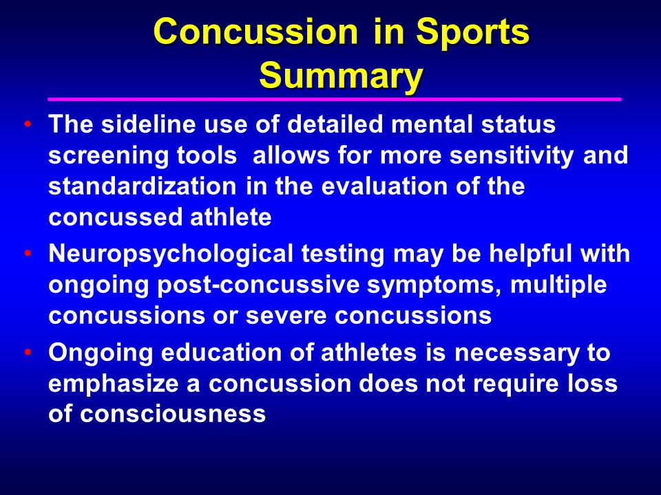 Concussion in Sports Summary