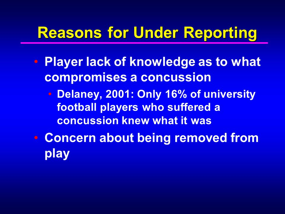 Reasons for Under Reporting