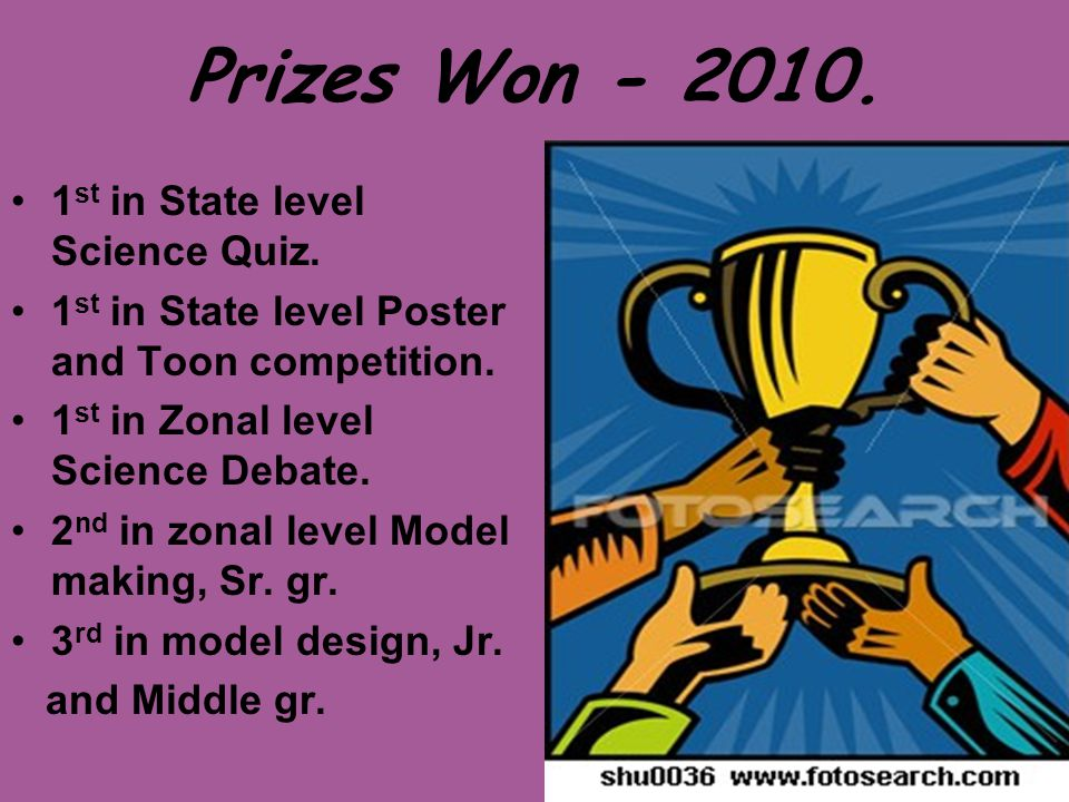 Prizes Won - 2010. 1st in State level Science Quiz.