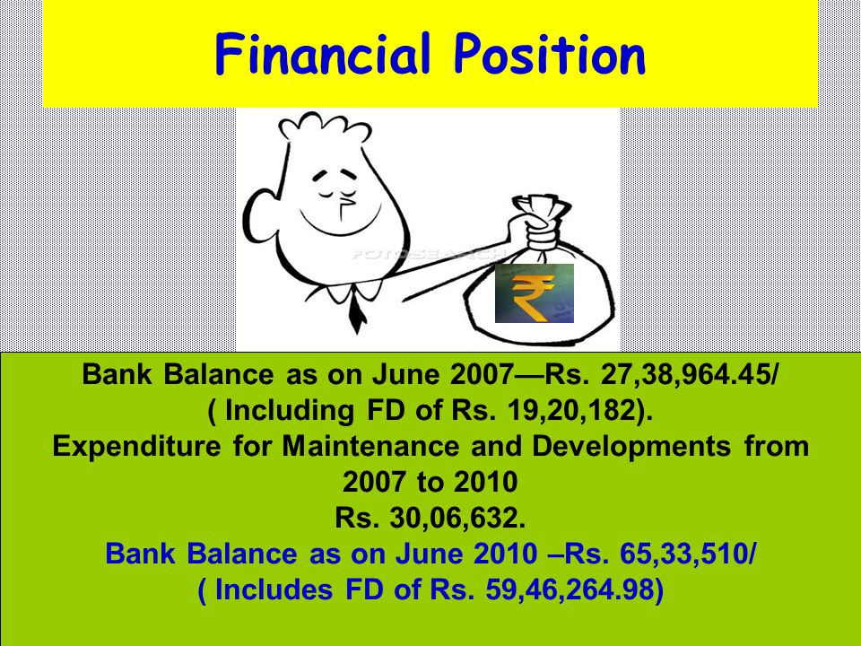 Financial Position Bank Balance as on June 2007—Rs. 27,38,964.45/