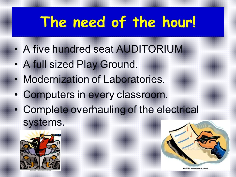 The need of the hour! A five hundred seat AUDITORIUM