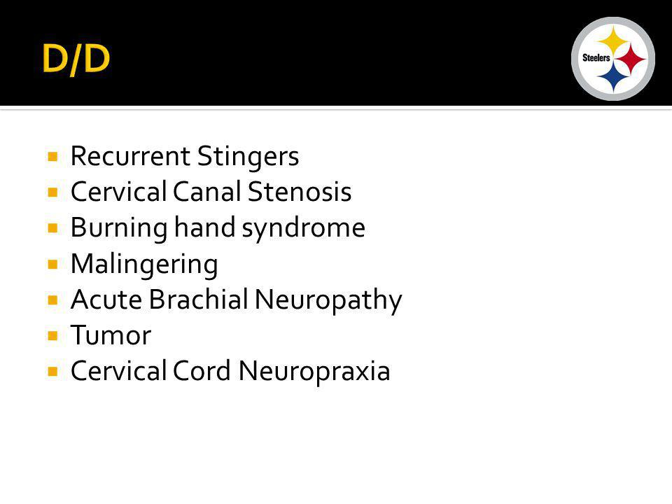 D/D Recurrent Stingers Cervical Canal Stenosis Burning hand syndrome