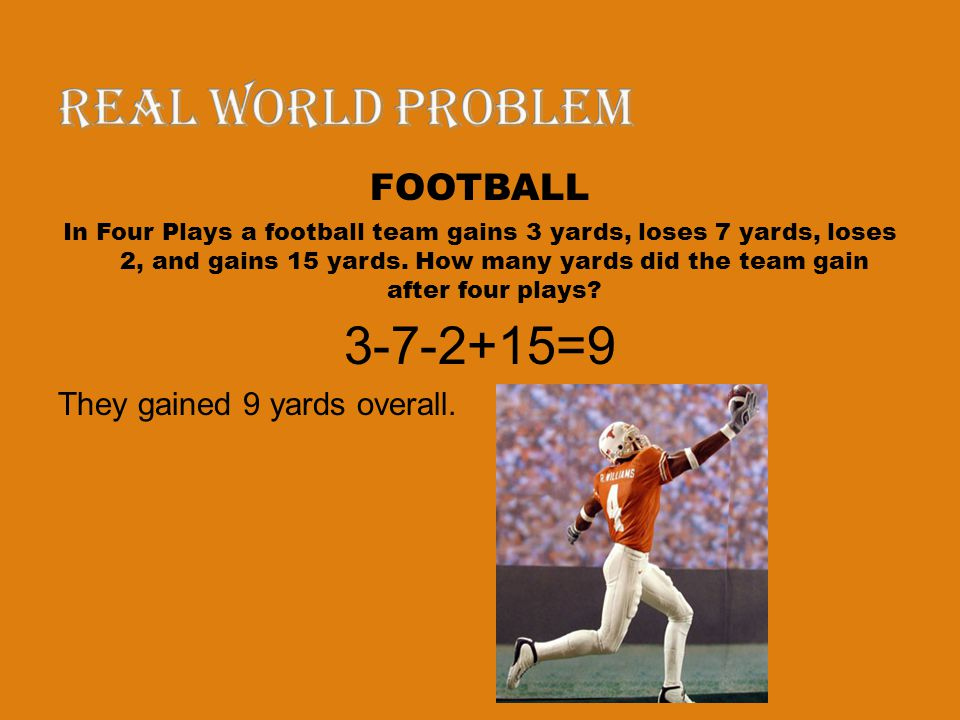 Real world problem 3-7-2+15=9 FOOTBALL They gained 9 yards overall.