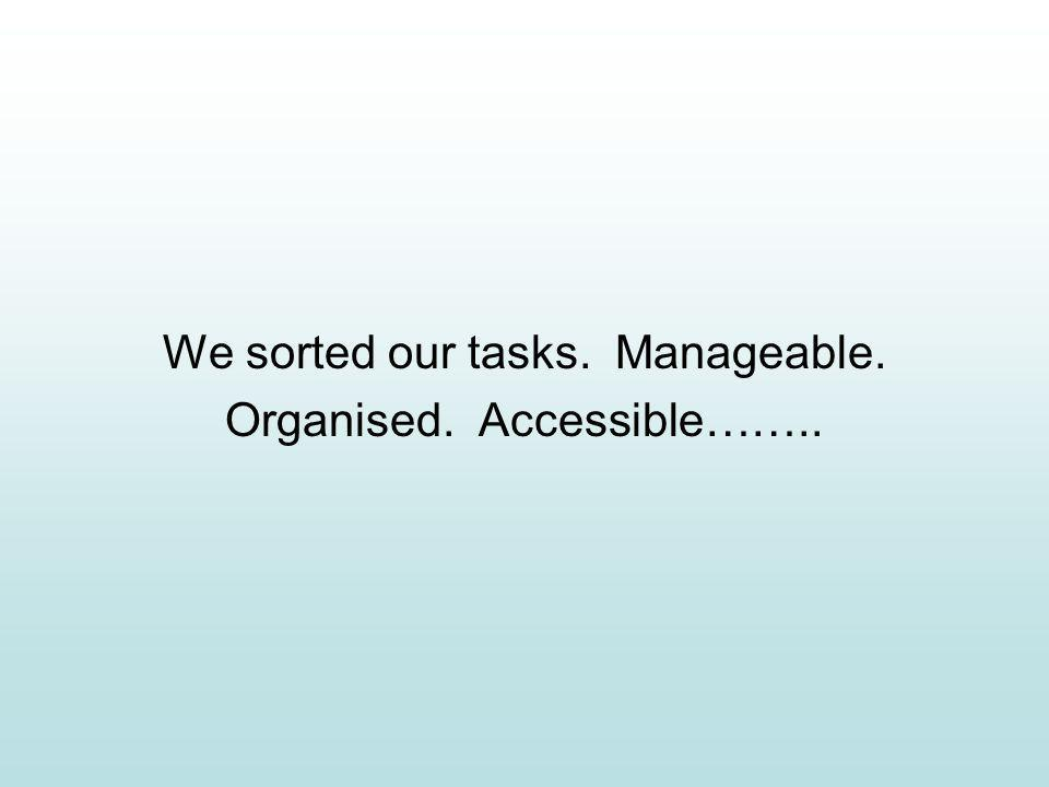 We sorted our tasks. Manageable. Organised. Accessible……..