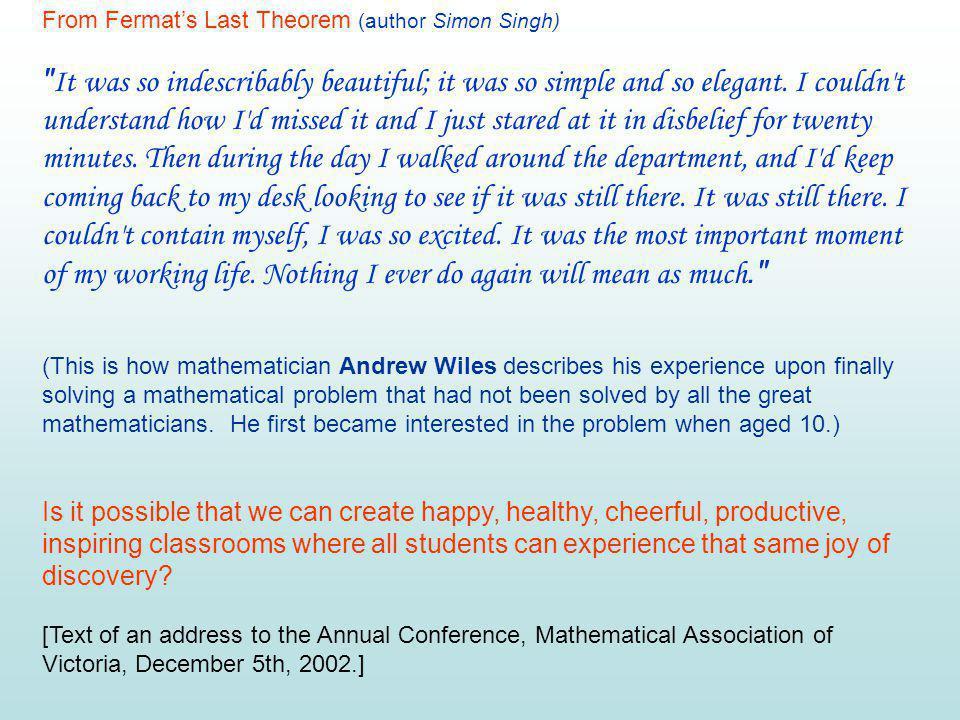 From Fermat's Last Theorem (author Simon Singh)