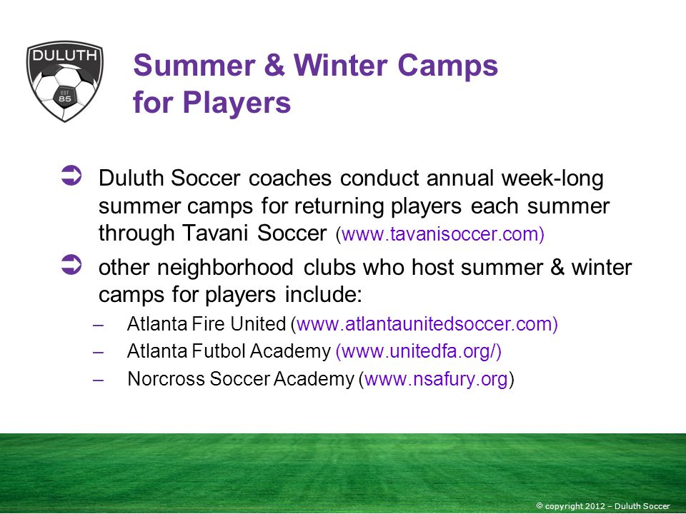 Summer & Winter Camps for Players