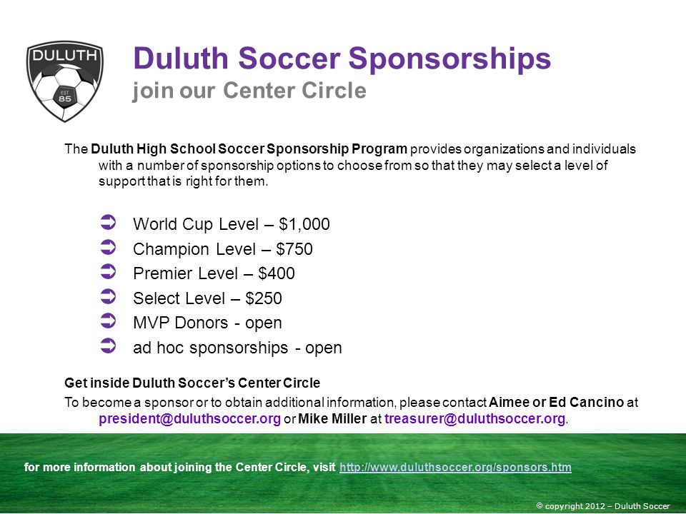 Duluth Soccer Sponsorships join our Center Circle