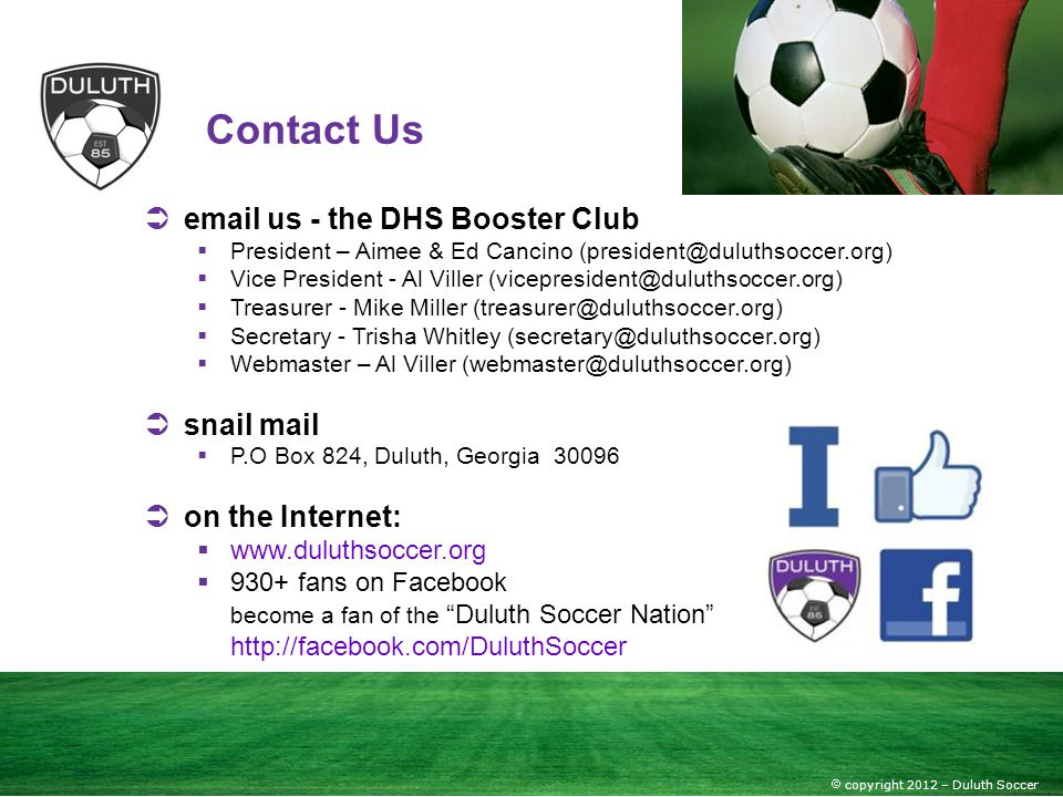 Contact Us email us - the DHS Booster Club snail mail on the Internet: