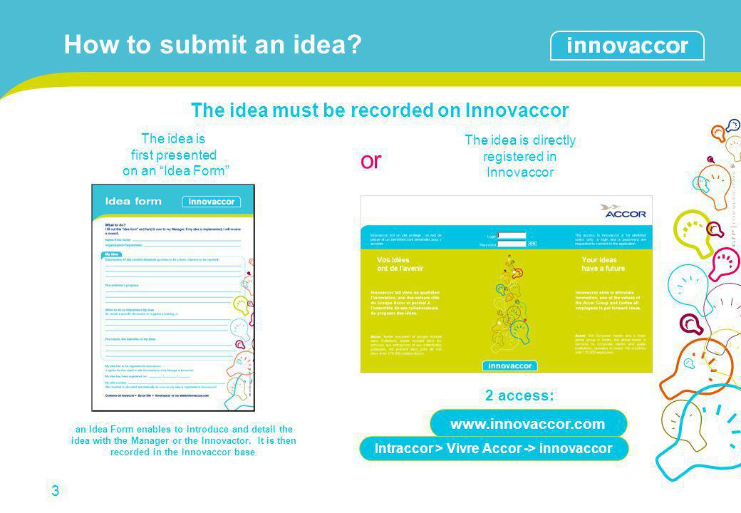 How to submit an idea or The idea must be recorded on Innovaccor