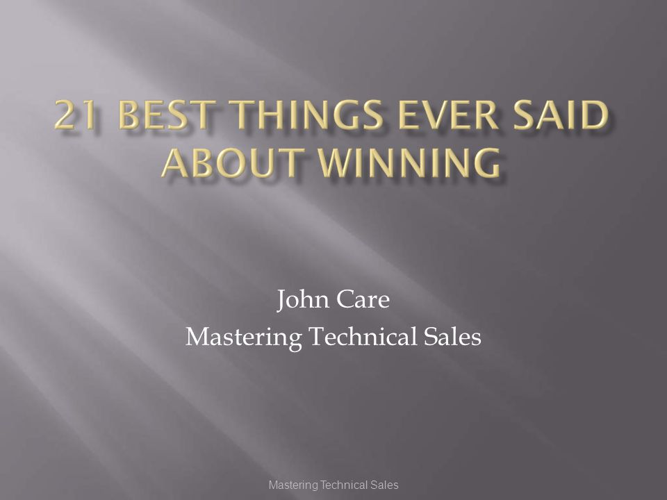 Provided By Mastering Technical Sales