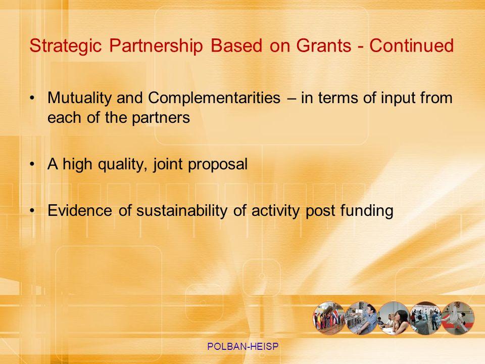 Strategic Partnership Based on Grants - Continued