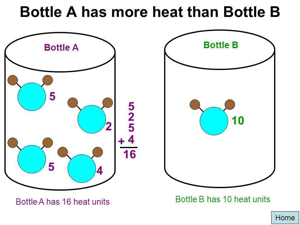 Bottle A has more heat than Bottle B