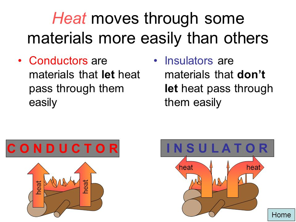 Heat moves through some materials more easily than others
