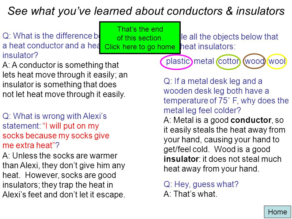 See what you've learned about conductors & insulators