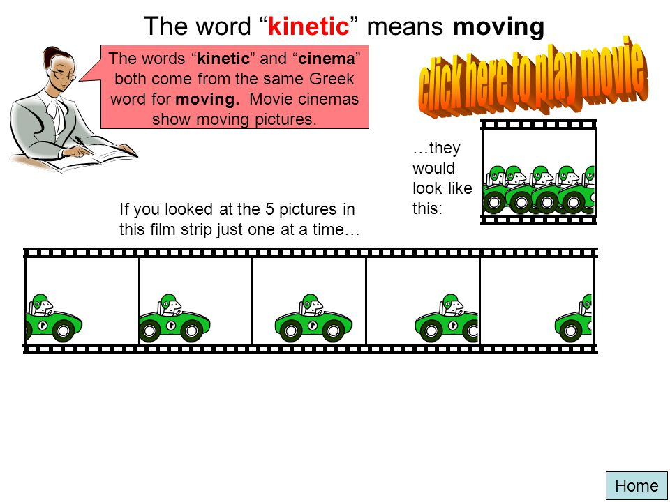 The word kinetic means moving