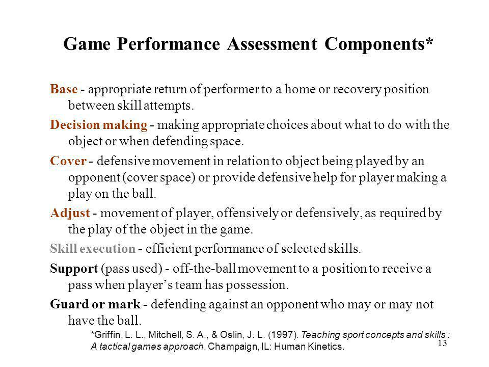 Game Performance Assessment Components*