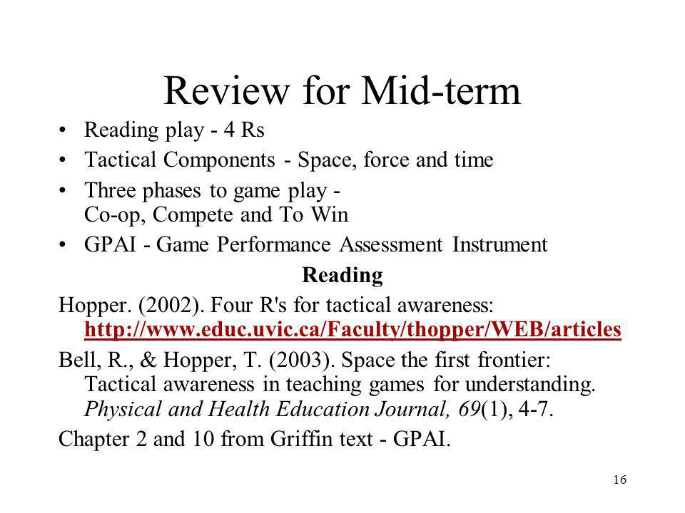 Review for Mid-term Reading play - 4 Rs