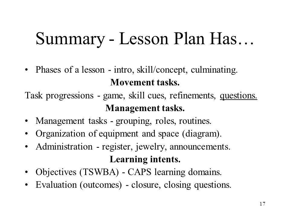Summary - Lesson Plan Has…