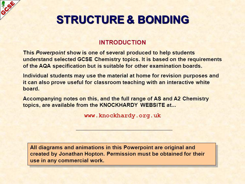 STRUCTURE & BONDING INTRODUCTION