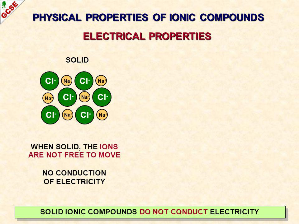 PHYSICAL PROPERTIES OF IONIC COMPOUNDS ELECTRICAL PROPERTIES