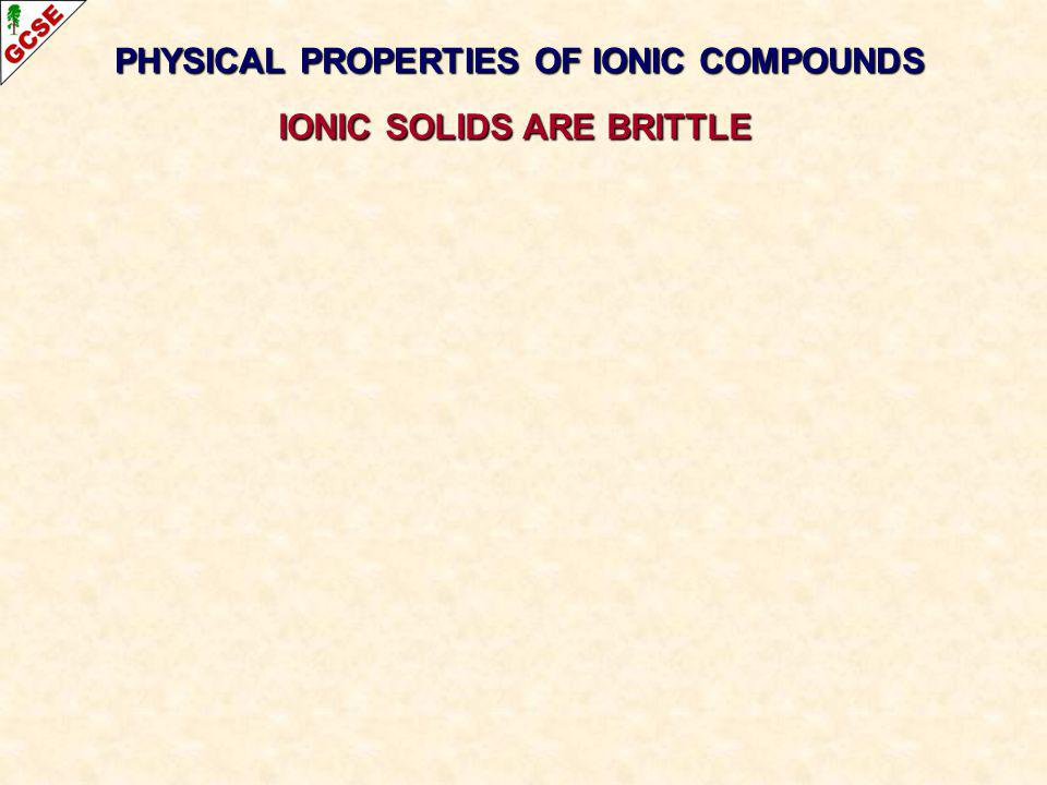 PHYSICAL PROPERTIES OF IONIC COMPOUNDS IONIC SOLIDS ARE BRITTLE