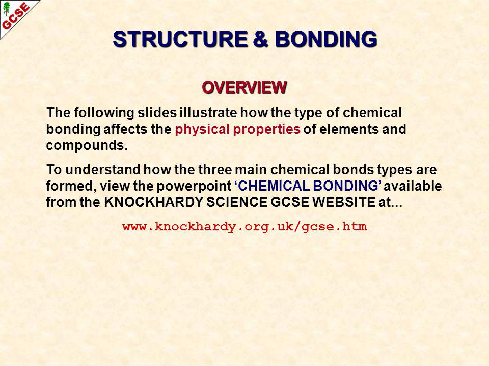 STRUCTURE & BONDING OVERVIEW