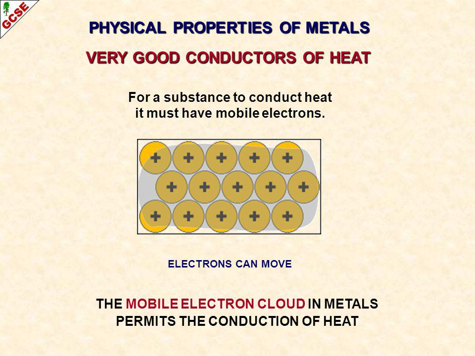 PHYSICAL PROPERTIES OF METALS VERY GOOD CONDUCTORS OF HEAT