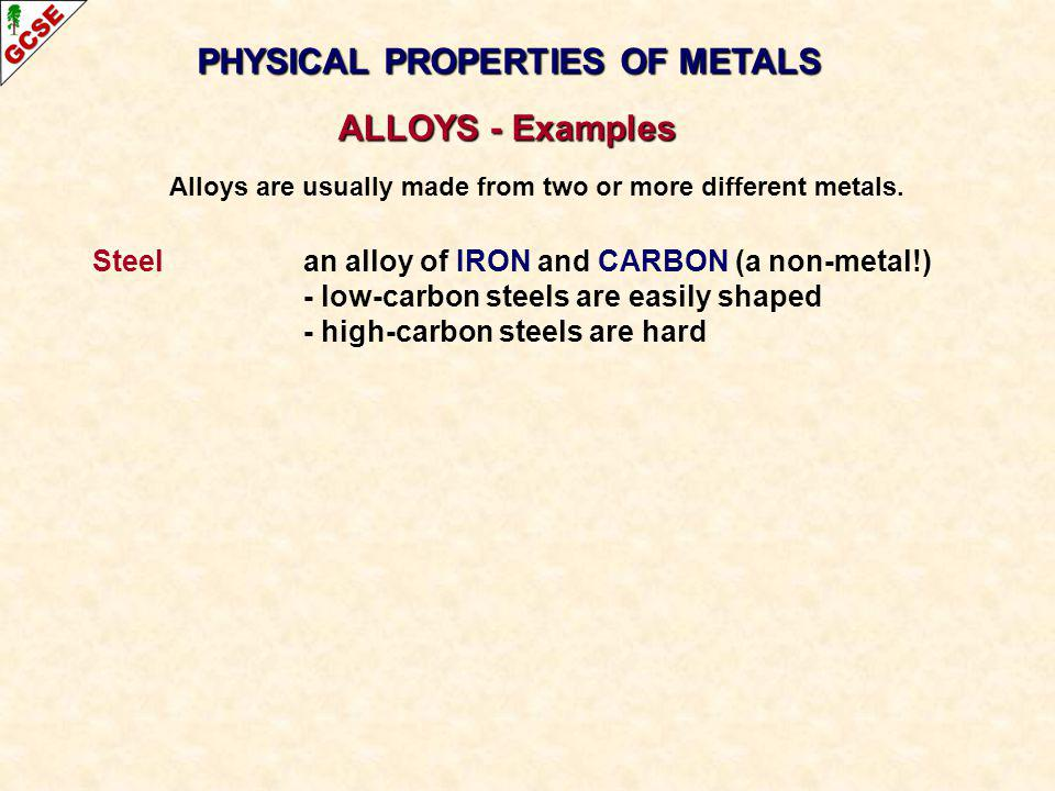 PHYSICAL PROPERTIES OF METALS ALLOYS - Examples