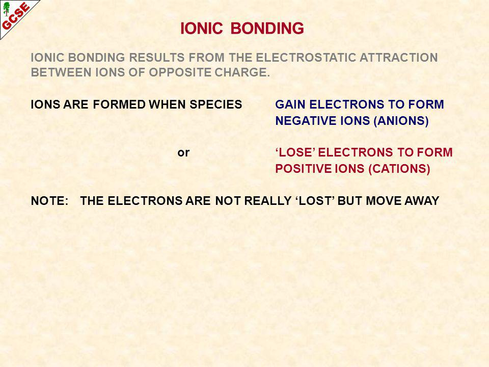 IONIC BONDING IONIC BONDING RESULTS FROM THE ELECTROSTATIC ATTRACTION BETWEEN IONS OF OPPOSITE CHARGE.