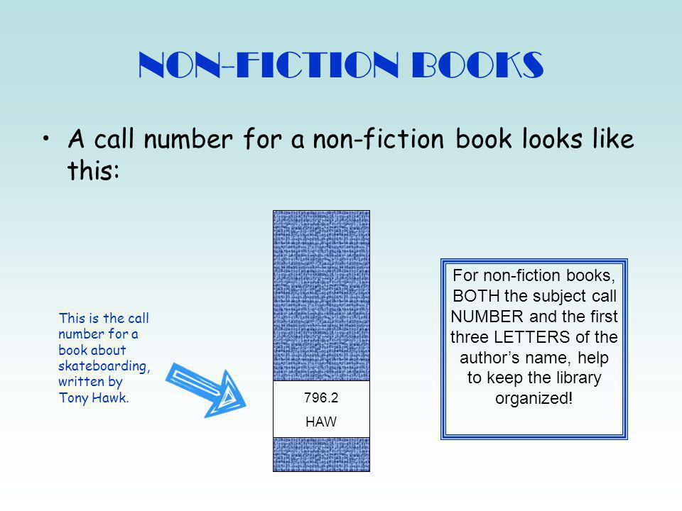 NON-FICTION BOOKS A call number for a non-fiction book looks like this: