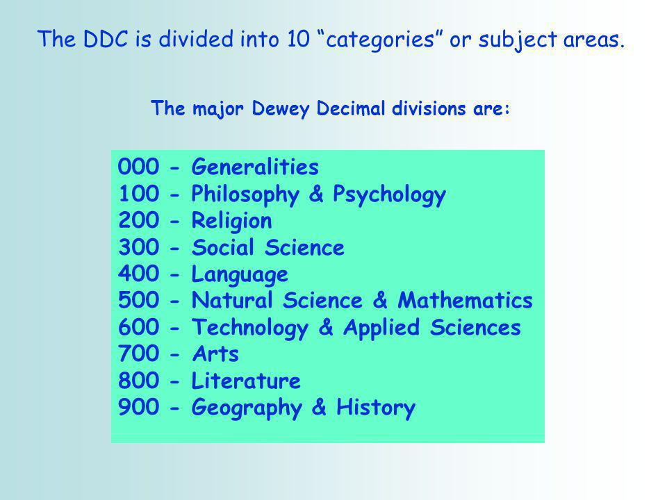 The DDC is divided into 10 categories or subject areas.