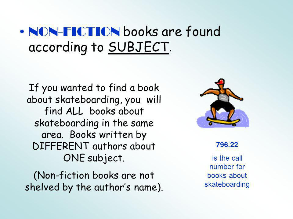 NON-FICTION books are found according to SUBJECT.