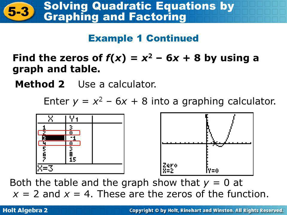 Example 1 Continued Find the zeros of f(x) = x2 – 6x + 8 by using a graph and table. Method 2 Use a calculator.