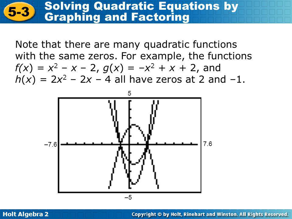Note that there are many quadratic functions with the same zeros