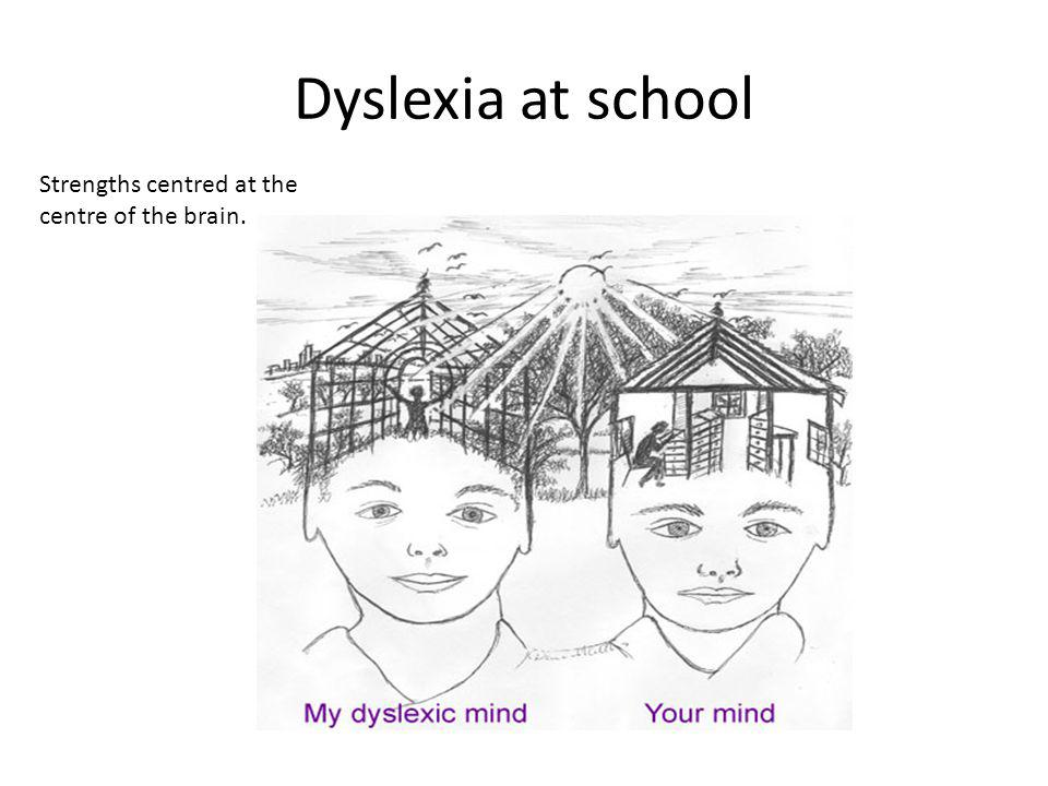Dyslexia at school Strengths centred at the centre of the brain.