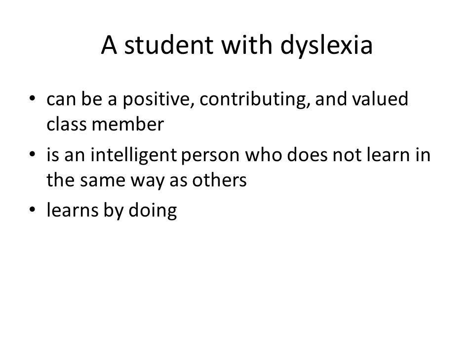 A student with dyslexia