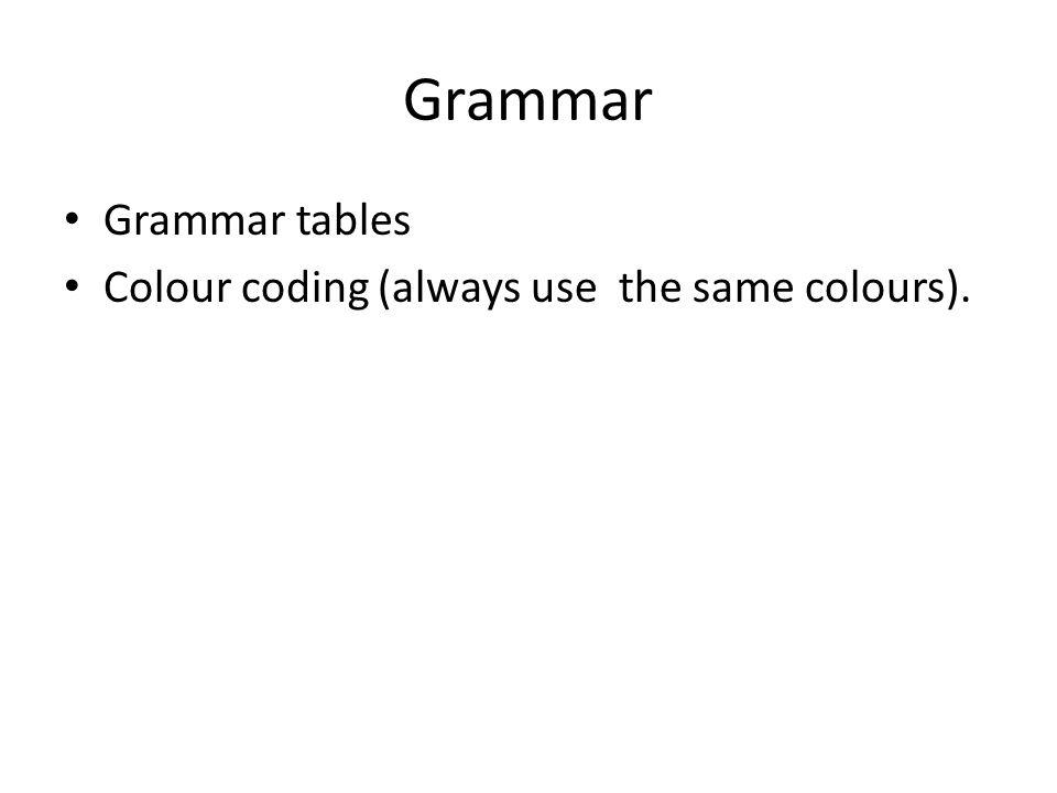 Grammar Grammar tables Colour coding (always use the same colours).