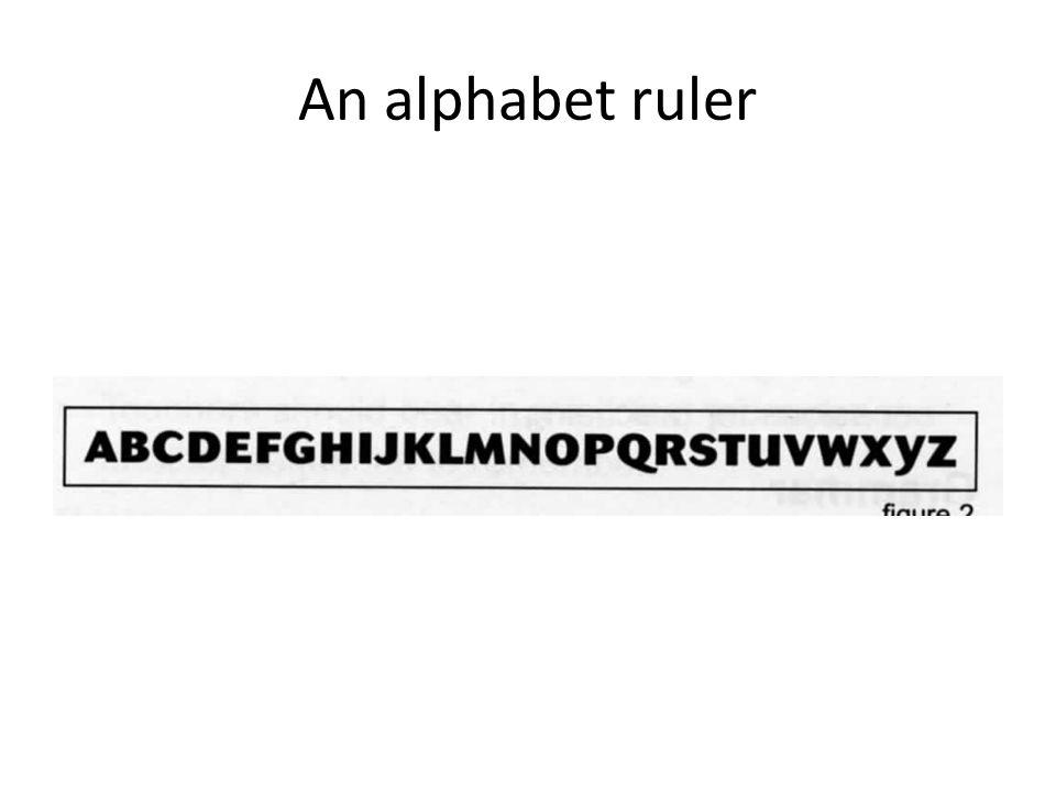 An alphabet ruler The alphabet ruler can help with using dictionaries and alphabetical order.