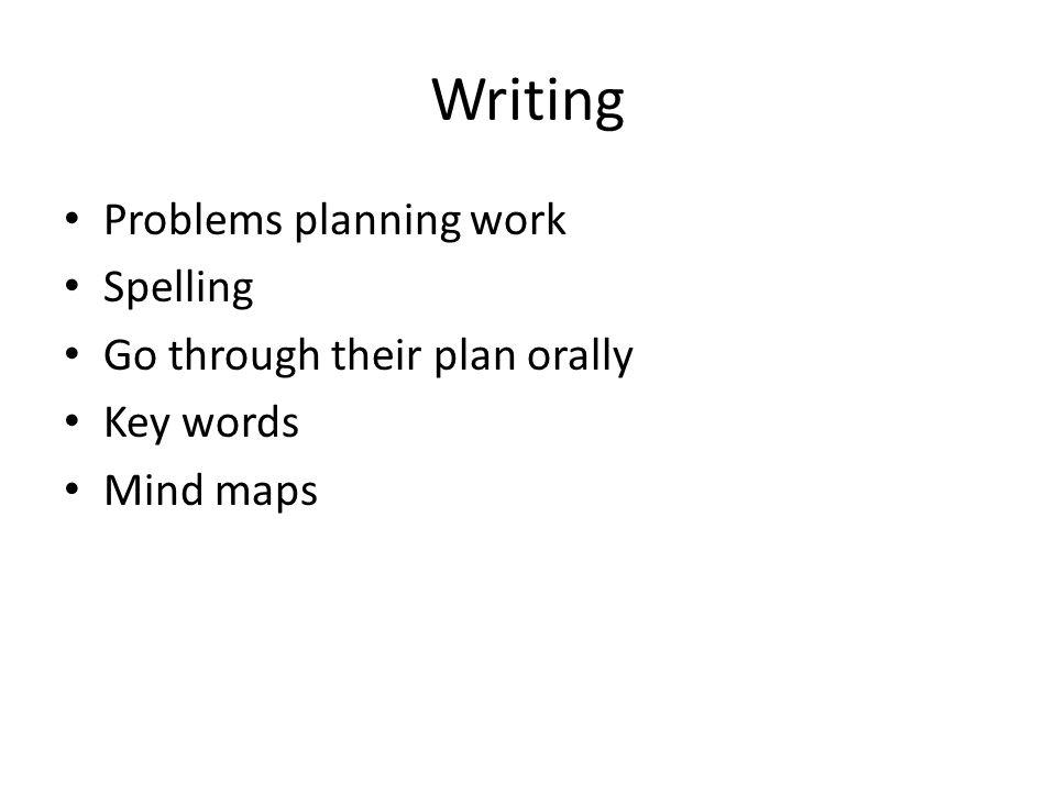 Writing Problems planning work Spelling Go through their plan orally