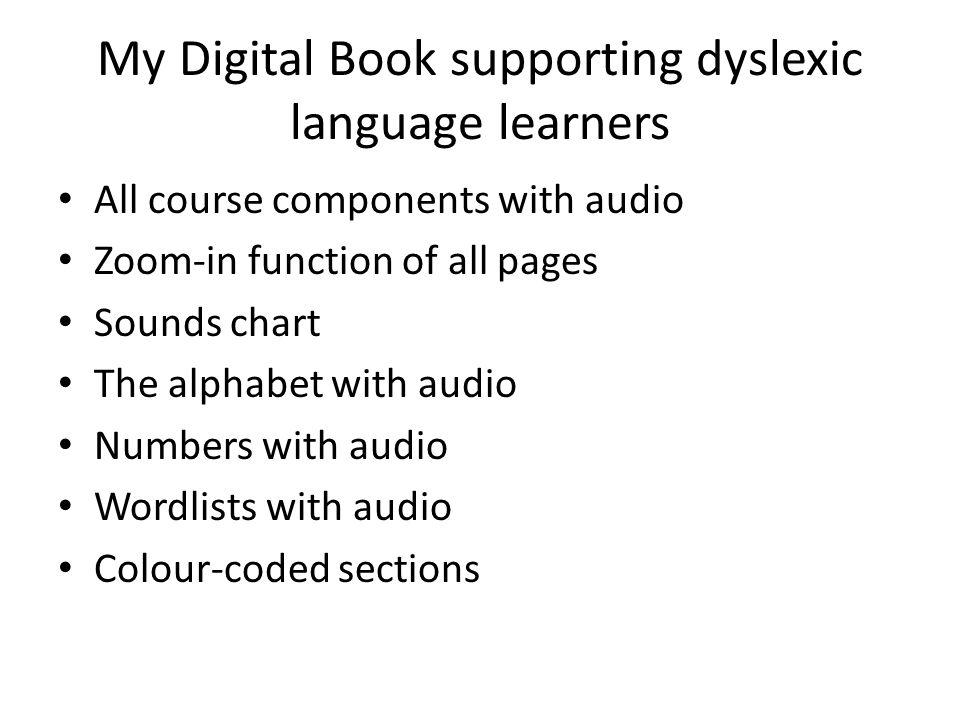My Digital Book supporting dyslexic language learners